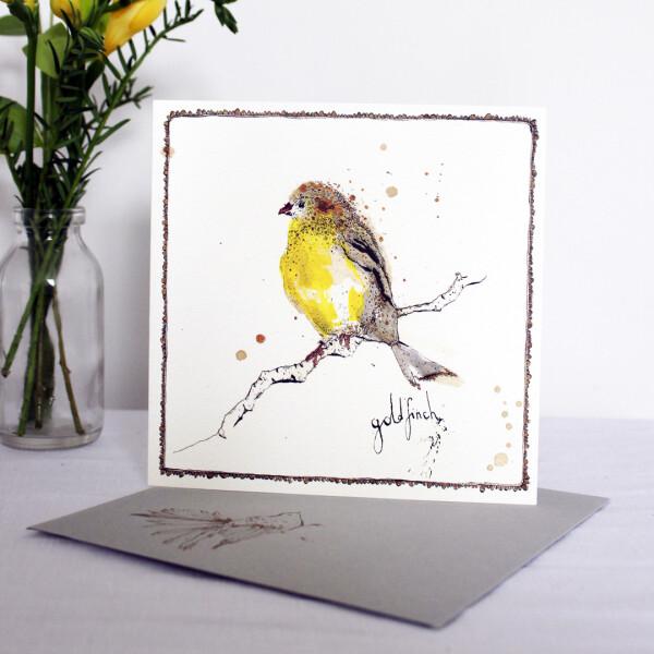 Anna Wright Grußkarte mit Umschlag Goldfinch 15 x 15