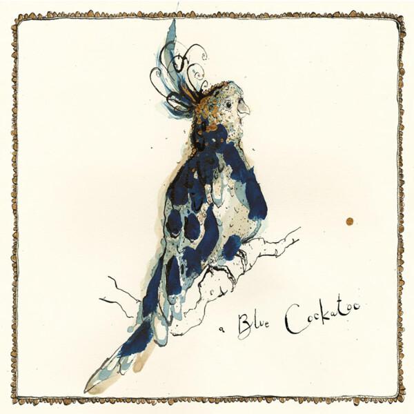 Anna Wright Grußkarte mit Umschlag Blue Cockatoo15 x 15