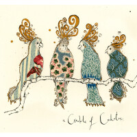 Anna Wright Grußkarte mit Umschlag Crackle of Cockatoos 15 x 15