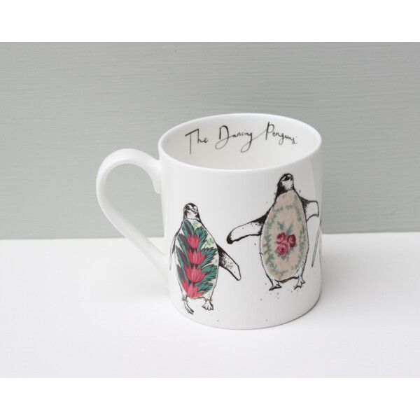 Kaffeebecher Fine Bone China Anna Wright Dancing Penguins Made in England