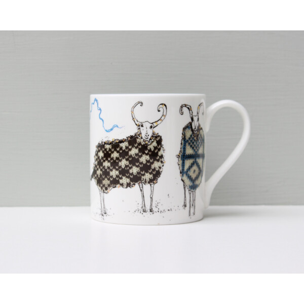 Kaffeebecher Fine Bone China Anna Wright The Knitting Circle Made in England