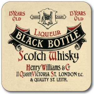 Untersetzer Black Bottle Whisky Label