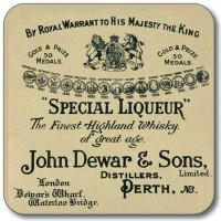 Untersetzer John Dewar Special Liqueur Whisky Label