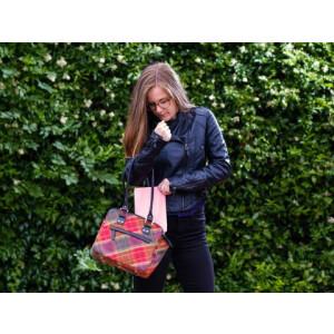 Leather Guild Sheila Bag Glen (Red) Islay Tweed/Black...