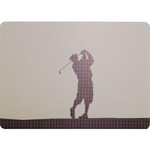 Tischset mit Korkrücken Golfer karo
