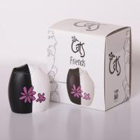 """""""Friends"""" Katzenfreunde mit Blume 8 cm Katzenfigur Dekofigur Katzen 8 cm hoch"""